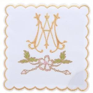 Linge d'autel 4 pcs symbole Marial et fleus s1