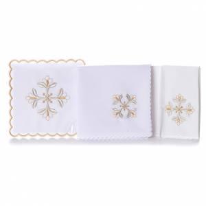 Linge d'autel croix florale argent et or 4 pcs s2