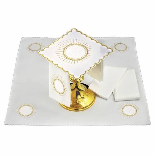 Linge d'autel lin hostie broderie blanche IHS s1