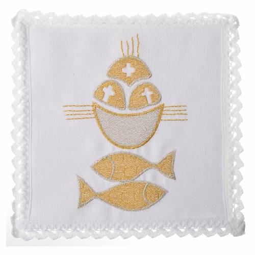 Linge d'autel pain et poisson 100% lin s1