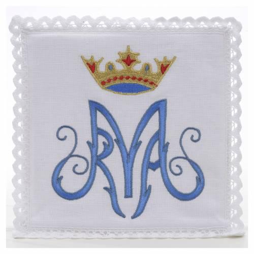 Linge d'autel symbole Marial bleu 100% lin s1