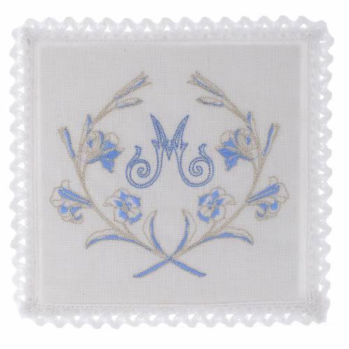 Linge pour autel lin M marial gris bleu clair avec fleurs s1