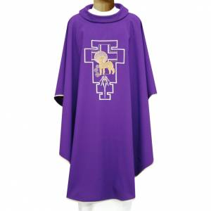 Chasubles: Liturgical chasuble in polyester with lamb and San Damiano cross