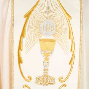Liturgical chasuble in wool with chalice, flowers and cross s6