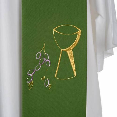 Liturgical stole with chalice and grapes embroidery s7