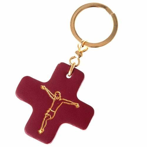 Llavero cruz cuadrada cuero San Antonio s1