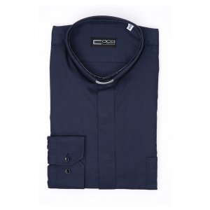 Long sleeve blue mix cotton clergy shirt easy to iron s3