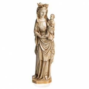 Statue in pietra: Madonna dell'uccellino 35 cm pietra avorio Bethléem