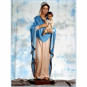 Madonna with baby Jesus statue in fiberglass, crystal eyes 125cm s1