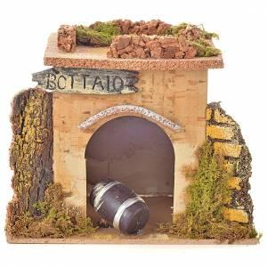 Maisons, milieux, ateliers, puits: Magasin tonnelier en miniature crèche 15x10 cm
