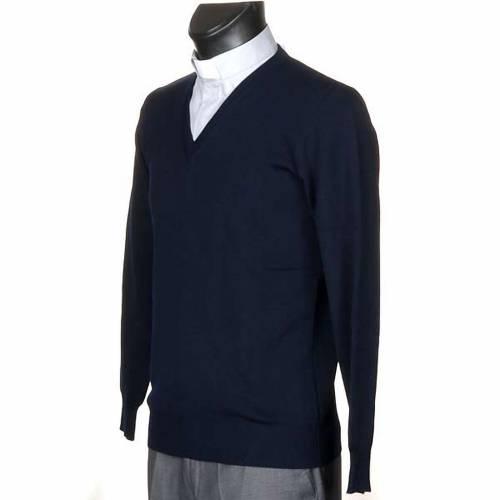 Pullover collo V blu s2