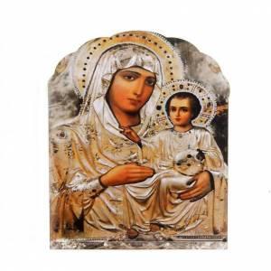 Magnets religieux: Magnet bois Vierge à l'enfant argent