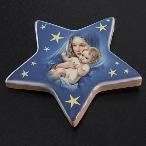Magnet étoile Marie et enfant Jésus céramiq s2