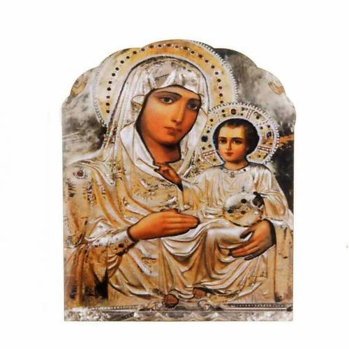 Magnet in wood, Our Lady and baby, silver colour s1