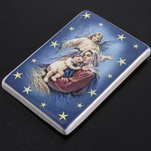 Magnet with Virgin Mary, baby Jesus and angel terracotta s2