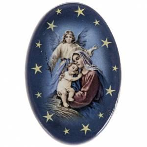 Magnete ovale ceramica Nascità Gesù s1
