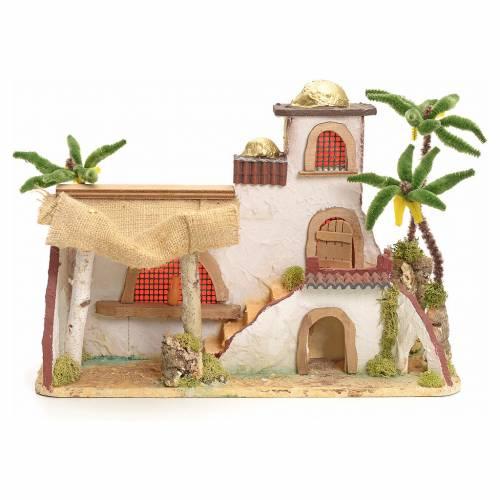 Maison arabe en miniature stucquée avec tente 30x43x18 s1
