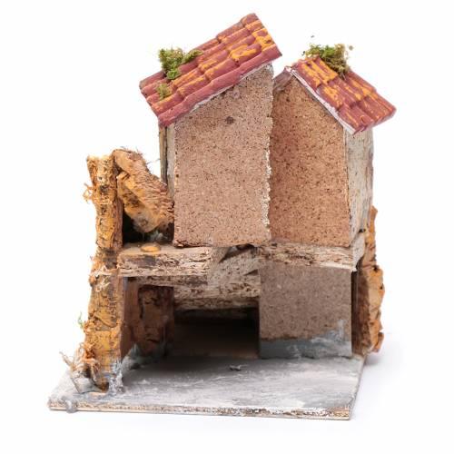 Maison avec escalier liège résine 16x15x18 cm s4