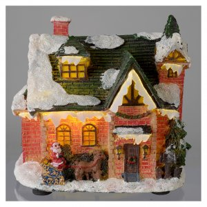 Villages de Noël miniatures: Maison enneigée village hivernal 15x10x15 cm