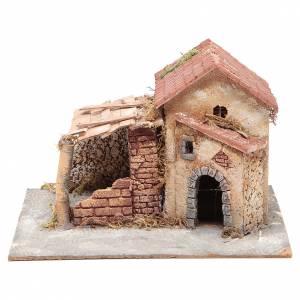 Maisons en liège et résine crèche Naples 20x28x26 cm s1