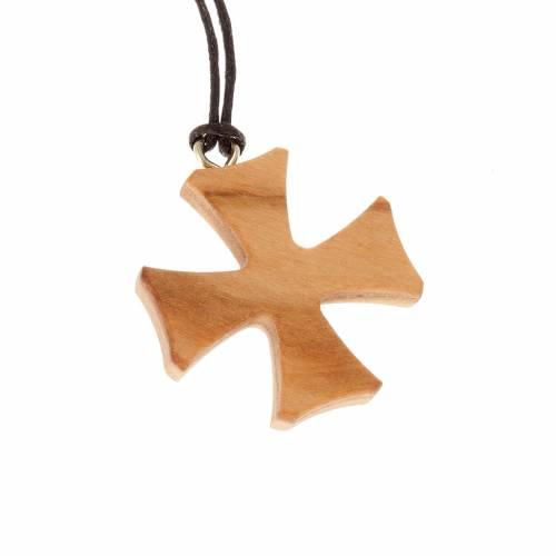 Malta cross pendant in olive wood s1
