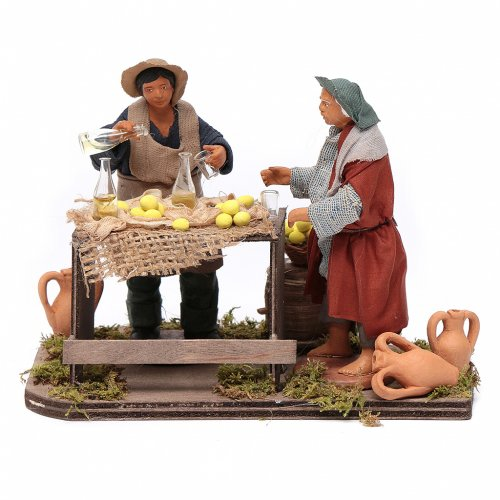 Man selling lemons with stall, Neapolitan nativity figurine 12cm s1
