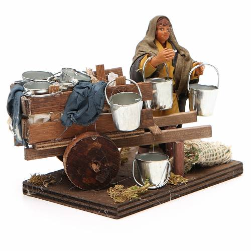 Man with cart of aluminium buckets, Neapolitan nativity figurine 10cm s4