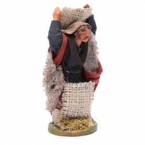 Man with jute sack, Neapolitan nativity figurine 10cm s3