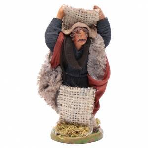 Neapolitan Nativity Scene: Man with jute sack, Neapolitan nativity figurine 10cm