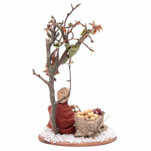 Man with seed sack and tree, Neapolitan nativity figurine 10cm s4
