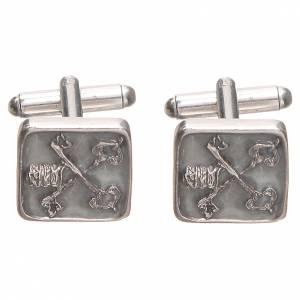 Manschettenknöpfe: Manschettenknöpfe Silber 800 Schlüssel Vatikan 1,5x1,5cm