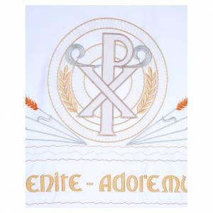 Manteles de altar: Mantel de altar 165x300 cm espigas estilizadas y símbolo PAX