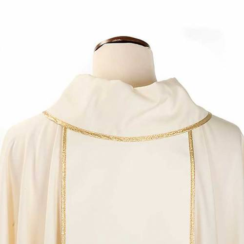 Marian chasuble in wool with roses and cowl s5