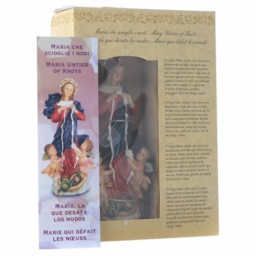 Mary untier of Knots statue 12cm Multilingual prayer s3