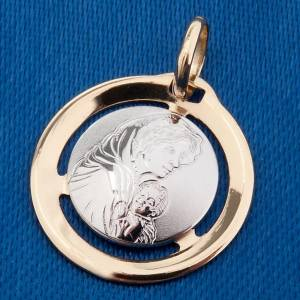 Mary with baby 18k white and yellow gold medal s3