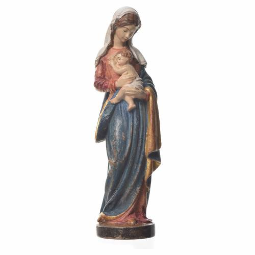 Mary with baby, statue in patinated Valgardena wood, old antique s1