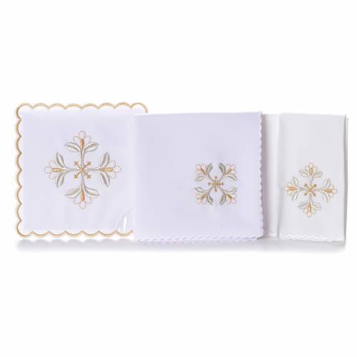 Mass linen set 4 pcs. floral cross gold silver s2