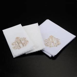 Altar linens: Mass linen set 4 pcs. IHS in gold thread