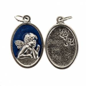 Medaglie: Medaglia Angelo ovale metallo smaltato h 20 mm blu