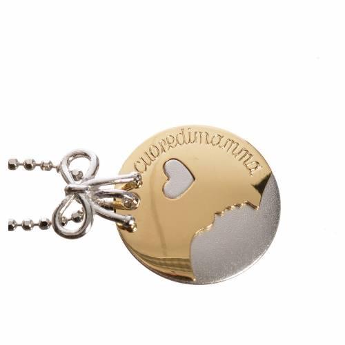 Medaglia Cuore di Mamma oro 750/00 bianco giallo - gr. 4,98 s2