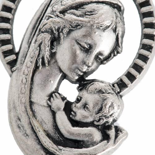 Medaglia Madonna bambino metallo ossidato mm 26 s2