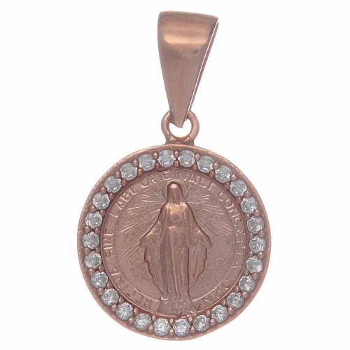 Medaglia Madonna Miracolosa in Argento 925 con zirconi trasparenti s1