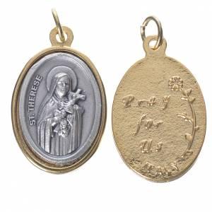 Medaglie: Medaglia s. Teresa metallo dorata argentata 2,5cm