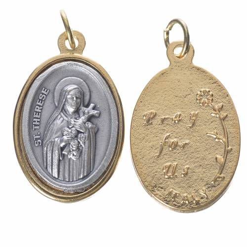 Medaglia s. Teresa metallo dorata argentata 2,5cm s1