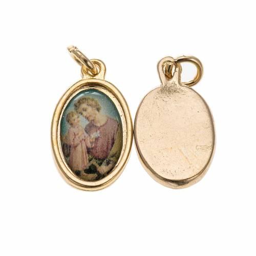 Medaglia San Giuseppe metallo dorato resina 1,5x1 cm s1