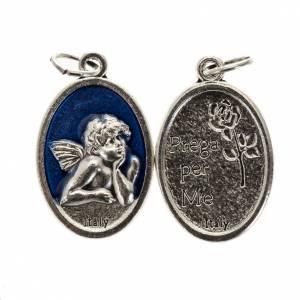 Médaille ange ovale métal émail bleu h 20 m s1