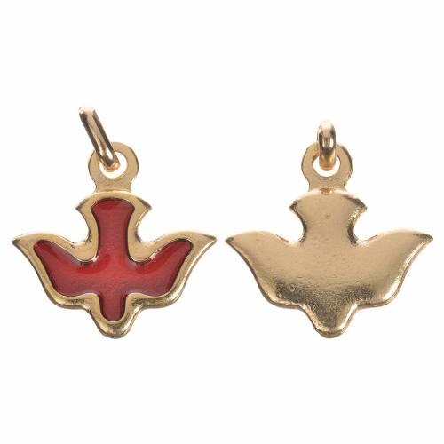 Médaille colombe émail rouge s1