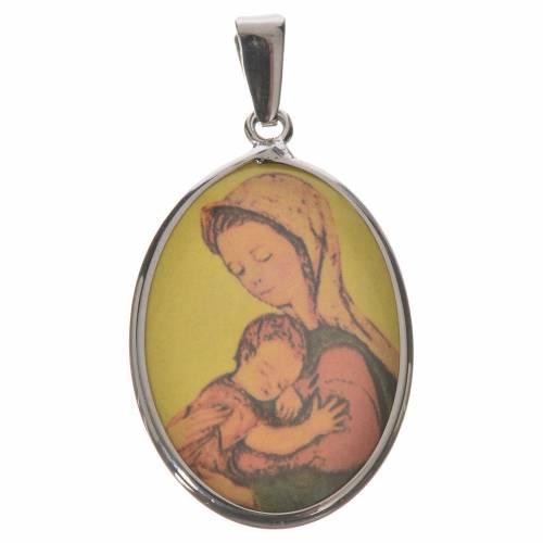 Médaille ovale argent 27mm Vierge s1