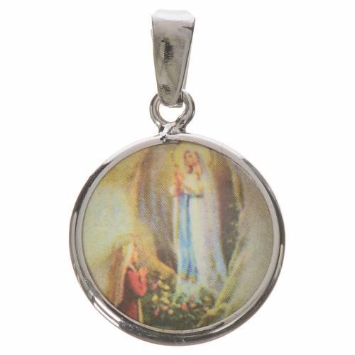 Médaille ronde argent 18mm Lourdes s1