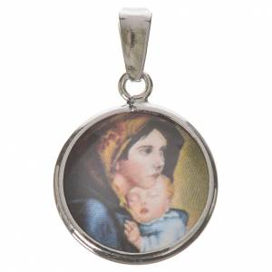 Médaille ronde argent 18mm Madonnina Ferruzzi s1
